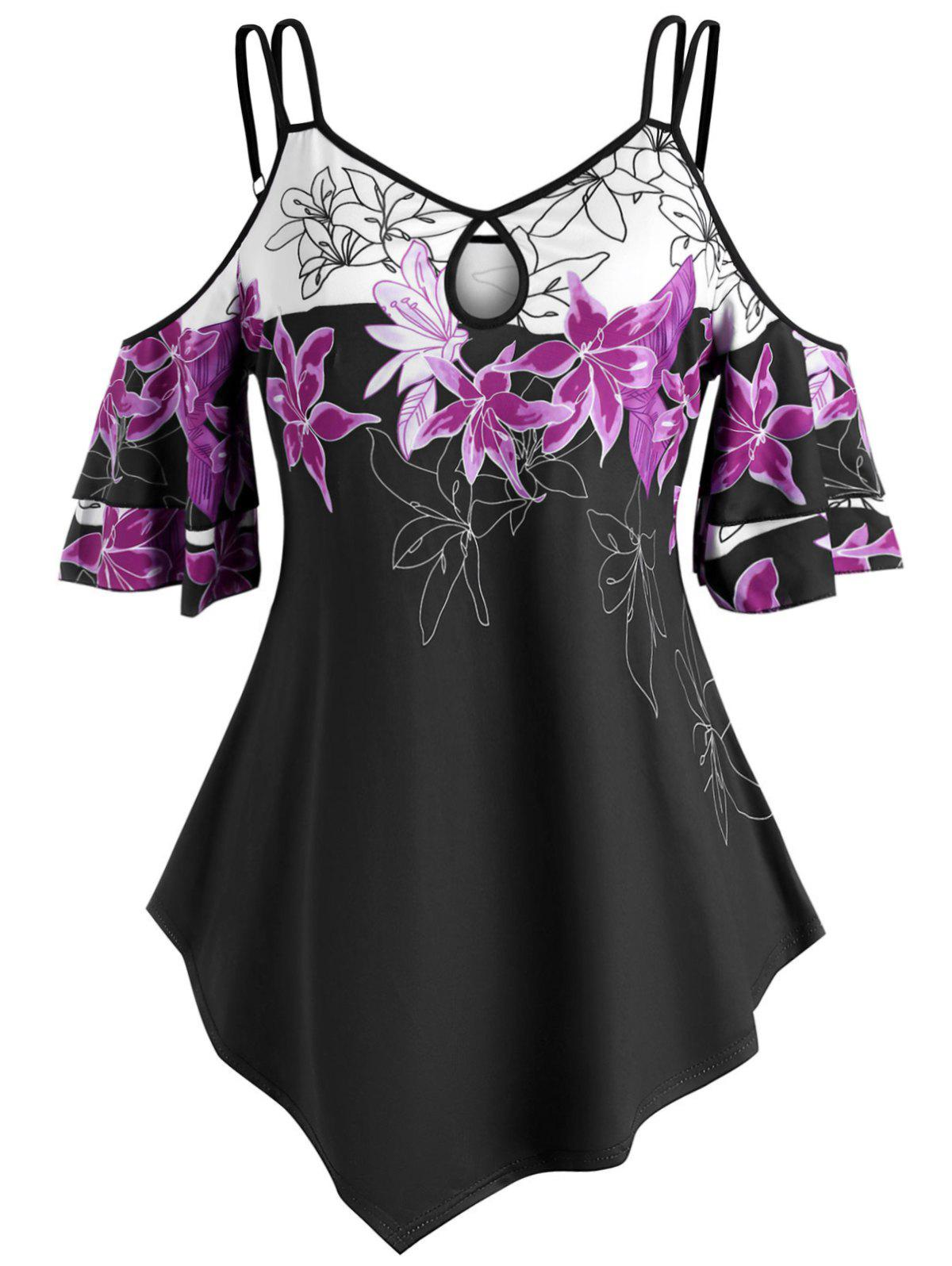 Outfits Strappy Floral Cold Shoulder Plus Size Top