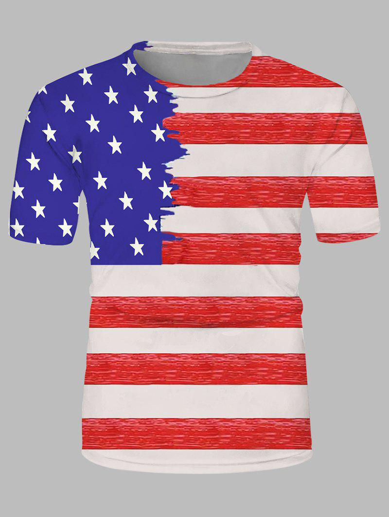 Hot American Flag Print Crew Neck Leisure T Shirt