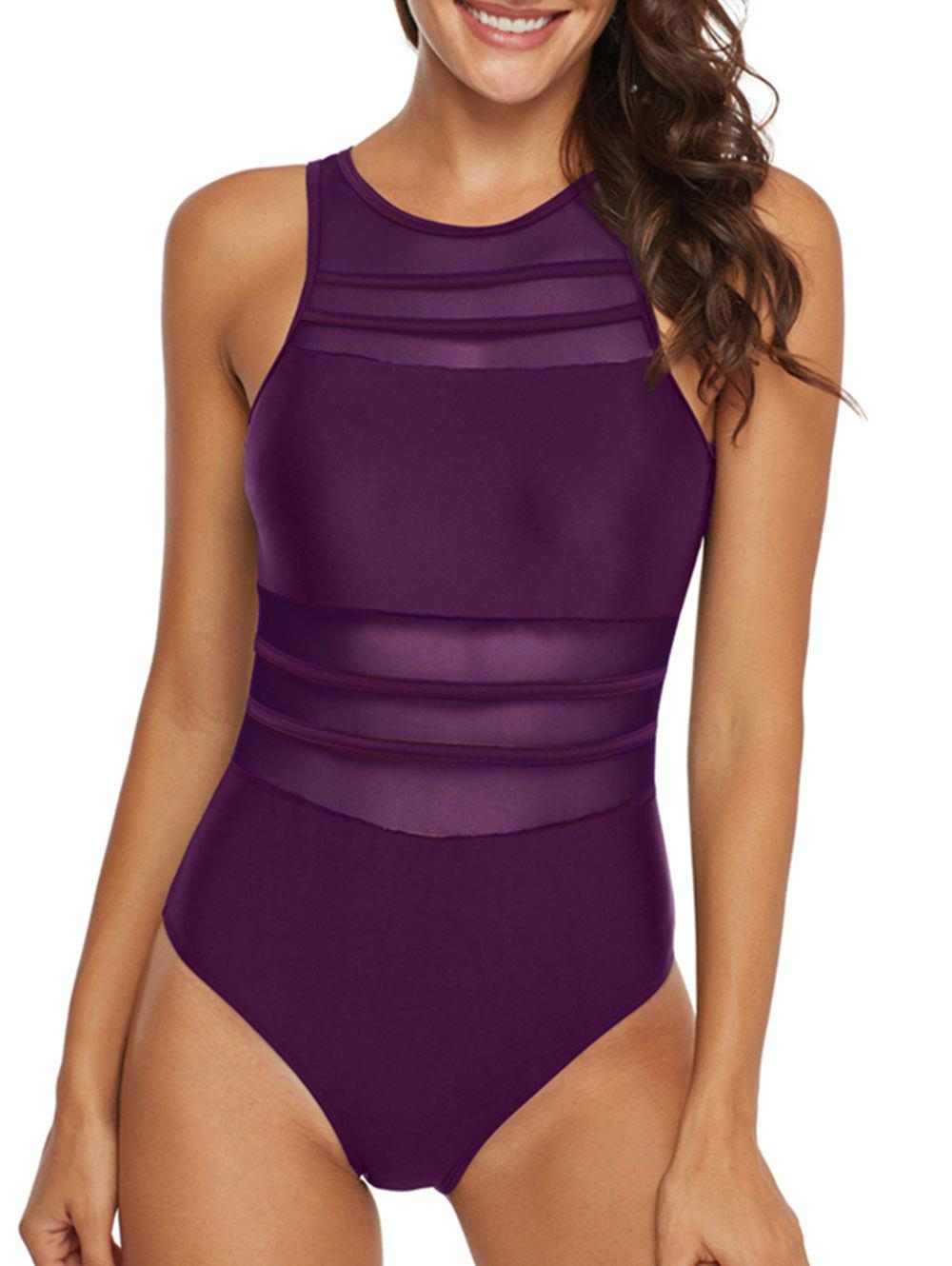 New Mesh Panel Sheer Cutout One-piece Swimsuit