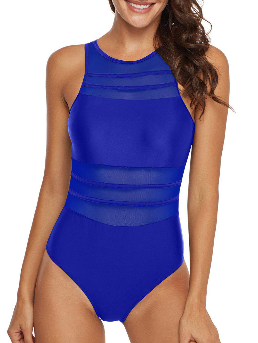 Fancy Mesh Panel Sheer Cutout One-piece Swimsuit