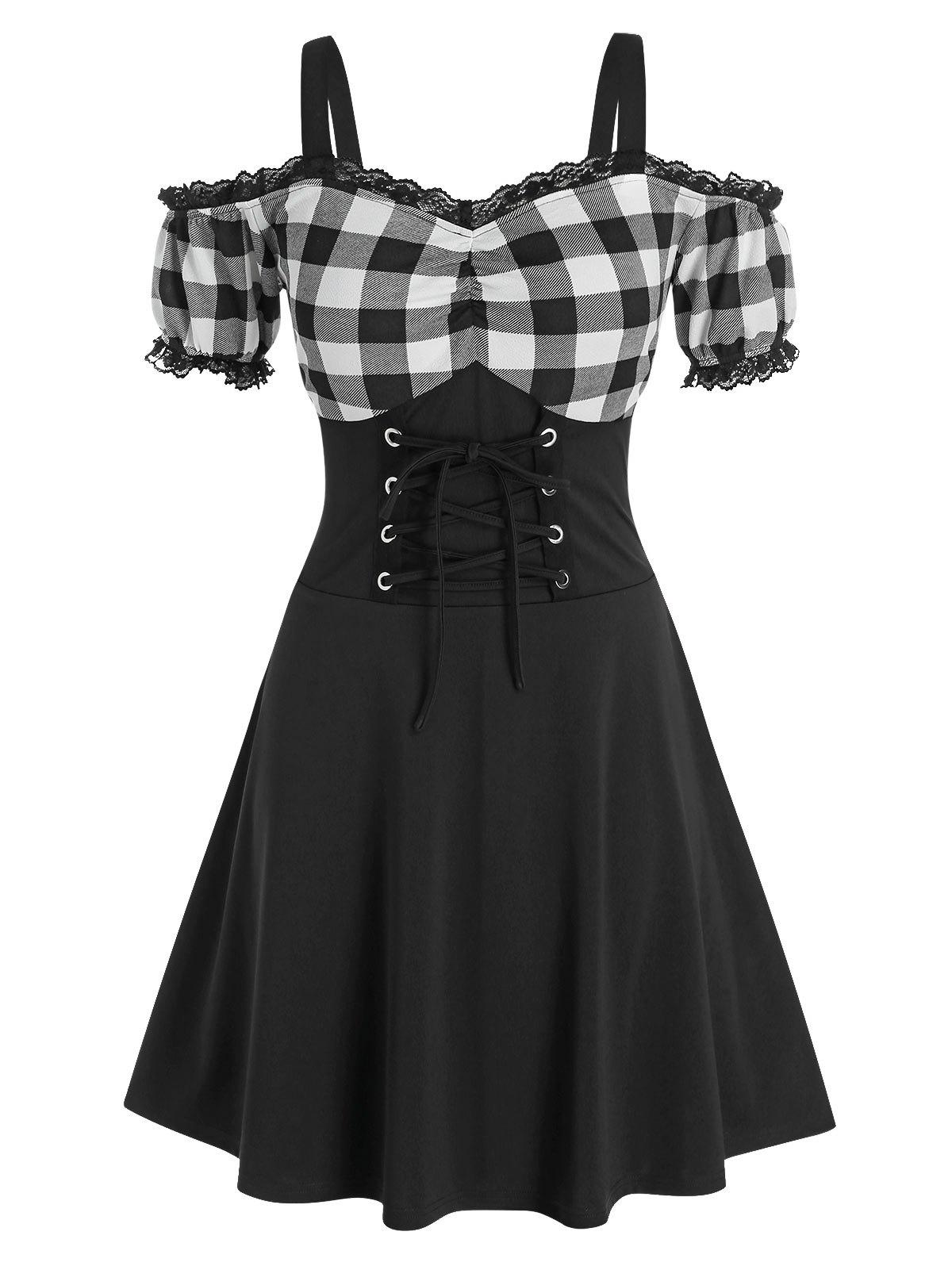 Store Plus Size Lace-up Plaid Cold Shoulder Lace Panel Dress