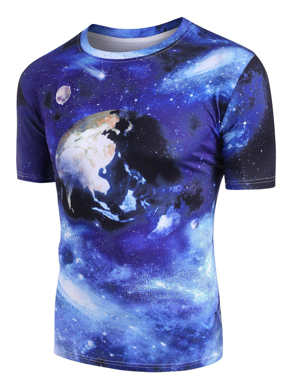 Outfit Galaxy Earth Pattern Short Sleeve T-shirt