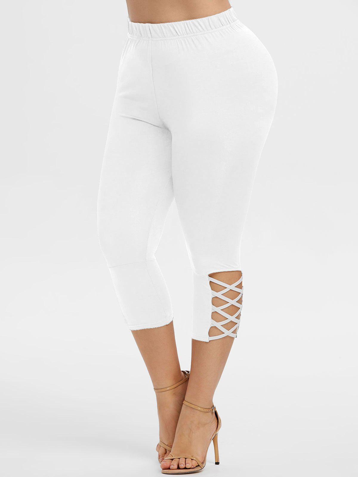 Cheap Plus Size Crisscross Capri Leggings