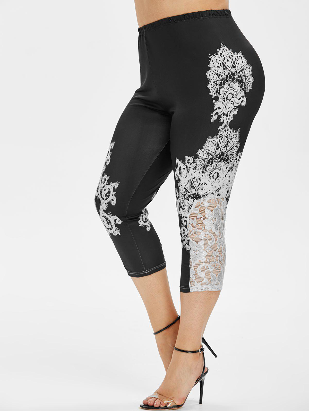 Best High Waisted Printed Lace Panel Plus Size Capri Leggings