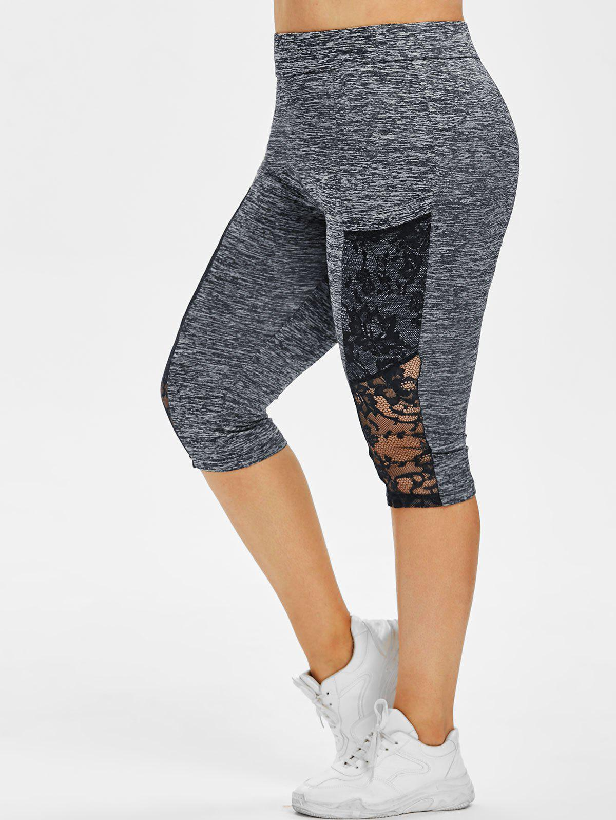 Unique Plus Size Lace Panel Sheer Space Dye Capri Leggings