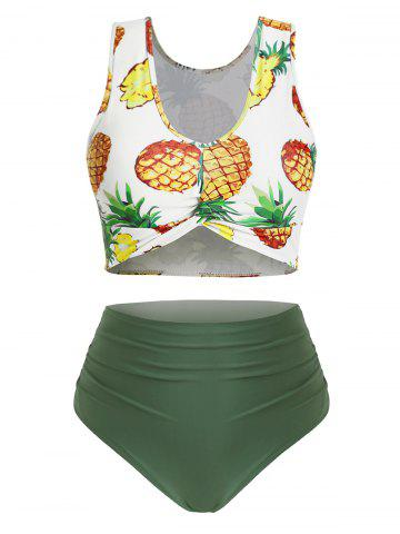 Ruched High Waisted Pineapple Twist Front Plus Size Tankini Swimsuit - HAZEL GREEN - 5X