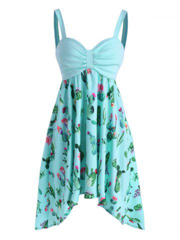 Cactus Print Ruched Asymmetrical Cami Dress