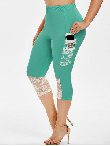 Plus Size Lace Insert Pockets Capri Leggings