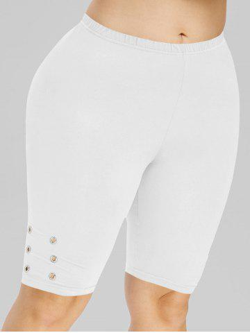 Plus Size High Rise Eyelet Knee Length Leggings