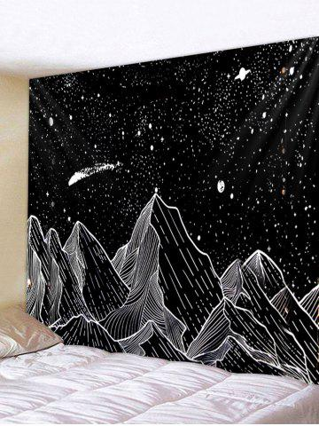 Painted Mountain Star Pattern Wall Tapestry - GRAPHITE BLACK - W59 X L51 INCH