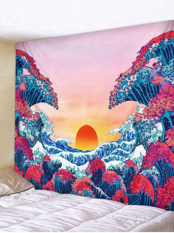 Japanese Style Sea Wave Sunset Print Tapestry - ROSE RED - W59 X L51 INCH