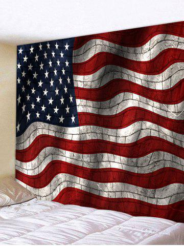 Twisted Brick Wall USA Flag Printed Polyester Tapestry - LAVA RED - W91 X L71 INCH