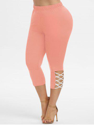 Plus Size Crisscross Capri Leggings - ROSE - 3X