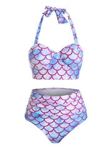 Fish Scale Print Halter High Waisted Tankini Swimwear - LIGHT PURPLE - 3XL