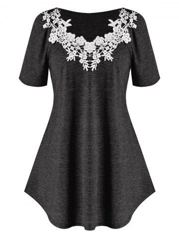 Plus Size Raglan Sleeve Lace Guipure T Shirt
