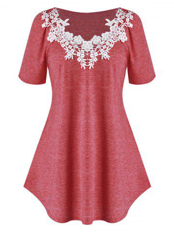 Plus Size Raglan Sleeve Lace Guipure T Shirt - CHERRY RED - L