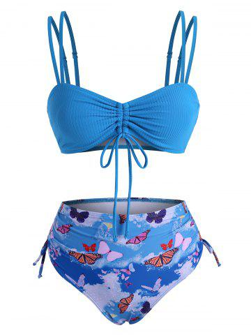 Cinched Ribbed Butterfly Print High Waisted Bikini Swimwear - BLUE - L