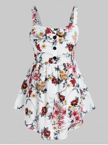 Plus Size Floral Print Skirted Tank Top - WHITE - 2X