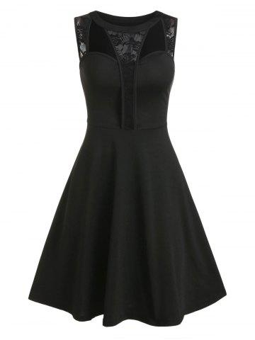 Floral Lace Hollow Out Fit And Flare Dress