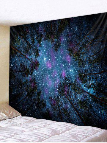 Forest Under Stars Print Polyester Tapestry - LAPIS BLUE - W59 X L51 INCH