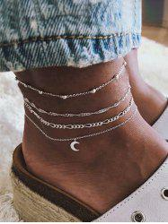 4 Piece Moon Charm Chain Anklets -