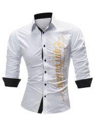 Two Tone Gilding Letter Graphic Long Sleeve Shirt -