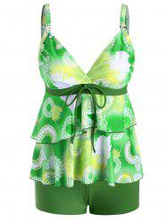 Surplice Layered Tie Printed Tankini Swimwear -