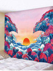 Japanese Style Sea Wave Sunset Print Tapestry -