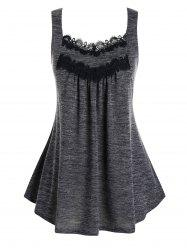 Plus Size Lace Embellished Pleated Tank Top -