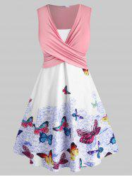 Plus Size Butterfly Print Crossover Dress -