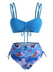 Cinched Ribbed Butterfly Print High Waisted Bikini Swimwear -