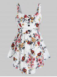 Plus Size Floral Print Skirted Tank Top -