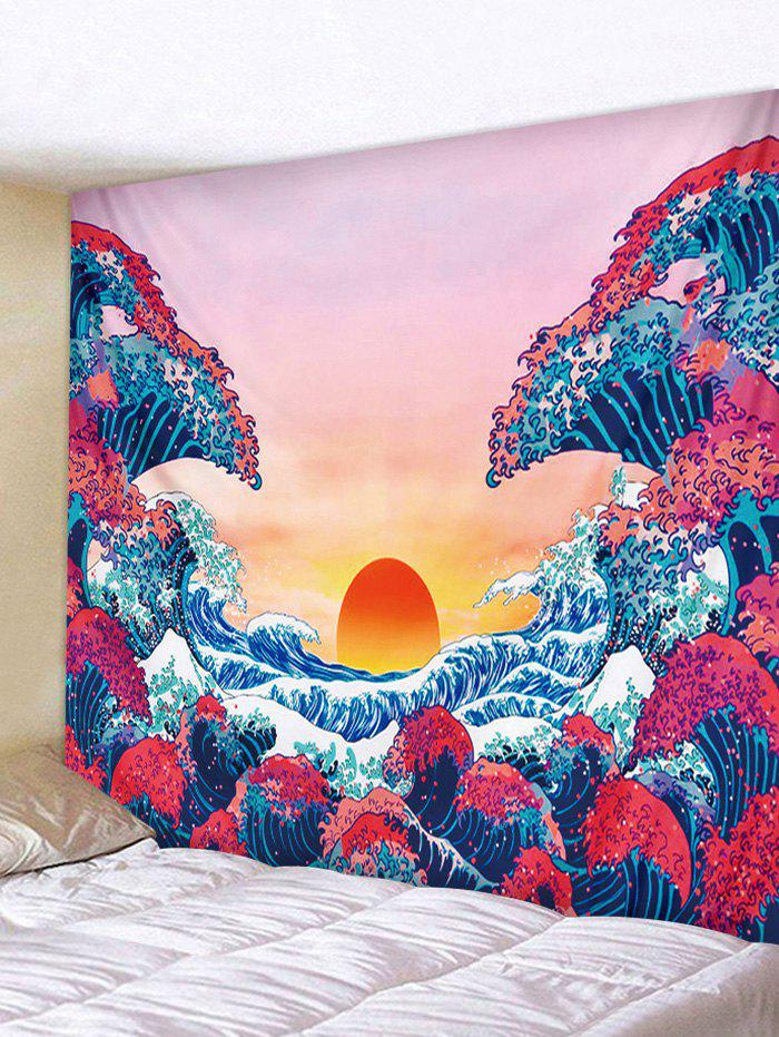 Trendy Japanese Style Sea Wave Sunset Print Tapestry