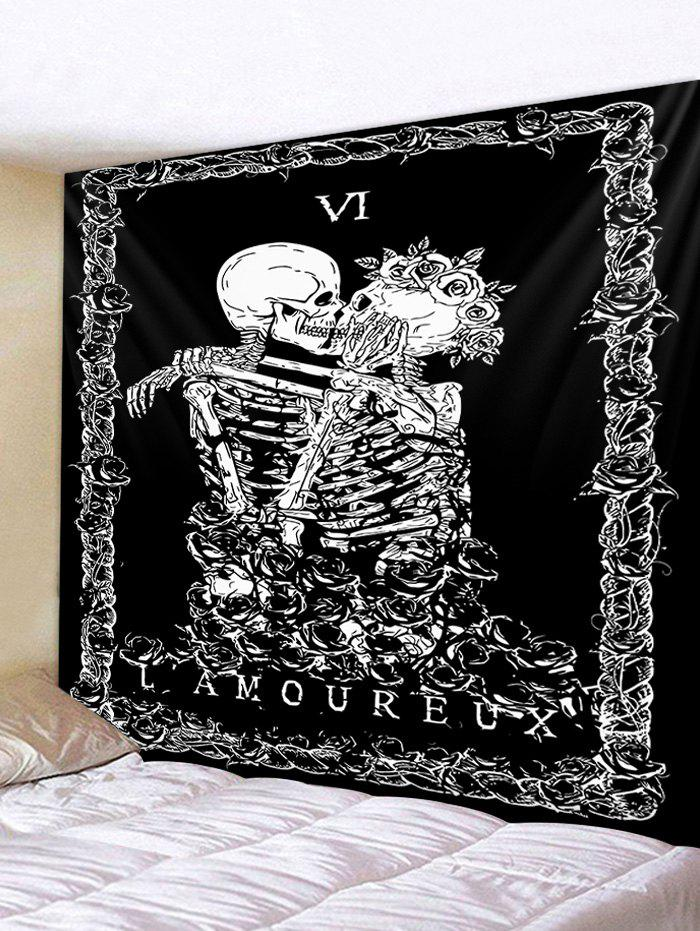 Hot Skeleton Couple Print Polyester Tapestry