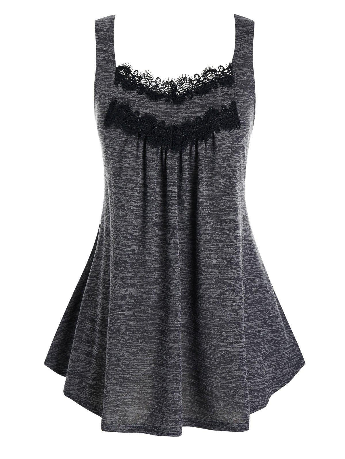 Best Plus Size Lace Embellished Pleated Tank Top