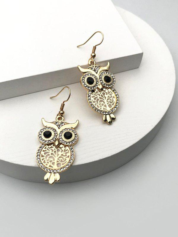 Unique Rhinestone Hollow Out Owl Drop Earrings
