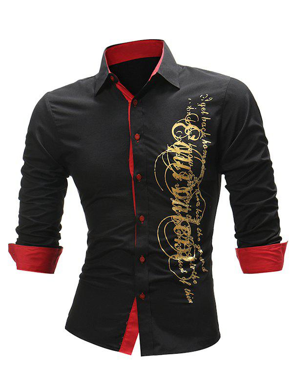 Online Two Tone Gilding Letter Graphic Long Sleeve Shirt