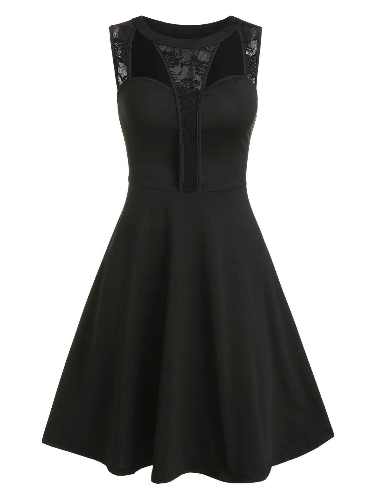 Affordable Floral Lace Hollow Out Fit And Flare Dress