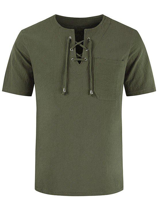 Store Short Sleeve Notched Lace-up Pocket T-shirt