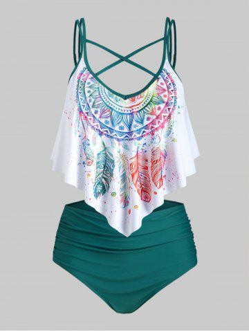 Plus Size Feather Print Crisscross Ruffled Tankini Swimwear - DEEP GREEN - 4X