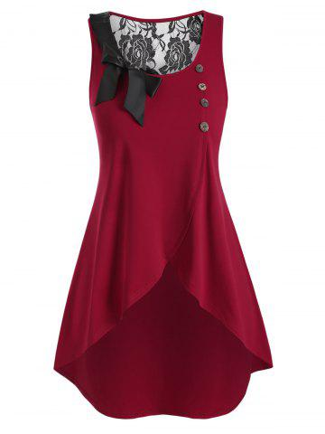 Plus Size High Low Bowknot Tank Top - RED - 4X