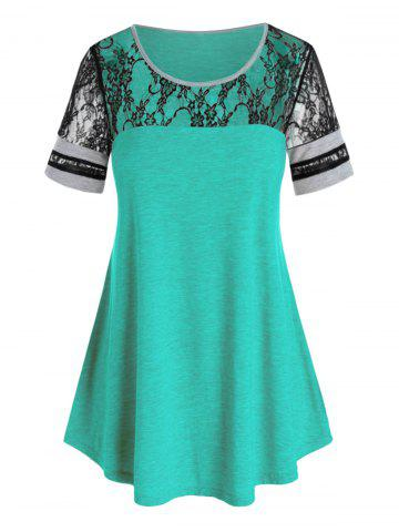 Plus Size Flower Lace Patchwork T Shirt