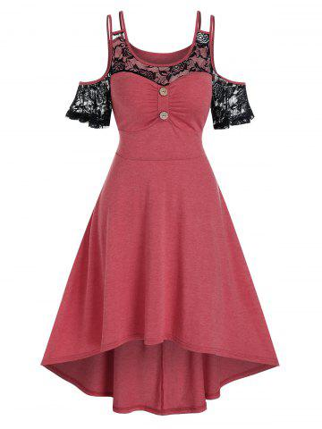 Cold Shoulder Lace Insert High Low Midi Dress