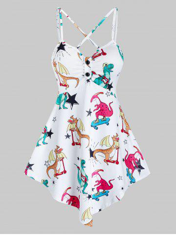 Cartoon Dinosaur Print Pointed Hem Cami Top - WHITE - 2XL