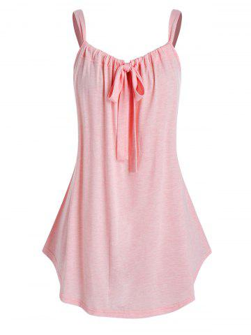 Plus Size Tie Front Curved Tunic Tank Top - PIG PINK - 2X