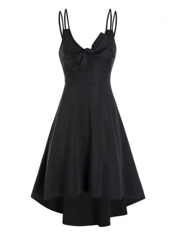Pure Color Bowknot Cami High Low Dress