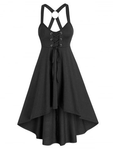 Pure Color Cross Back Cami High Low Dress - BLACK - L