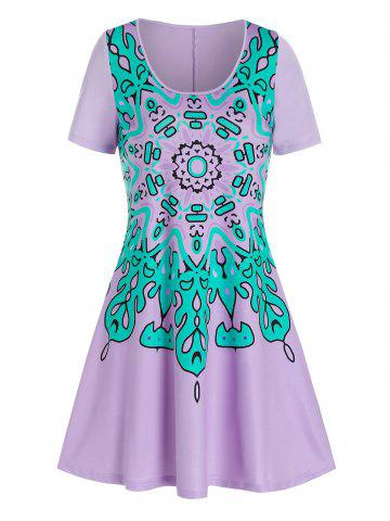 Flower Print Short Sleeve A Line Dress