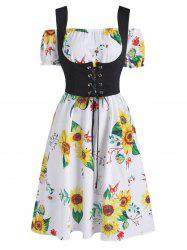 Off The Shoulder Sunflower Dress and Lace-up Waistcoat Set -
