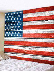 Wooden Board USA Flag Print Removable Wall Tapestry -